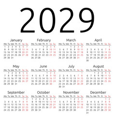 Simple calendar 2029 monday vector