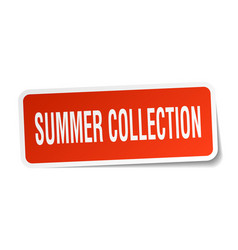Summer collection square sticker on white vector