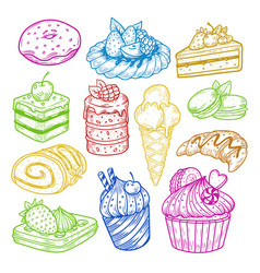 sweeties sketches pastry and bakery cake vector image vector image