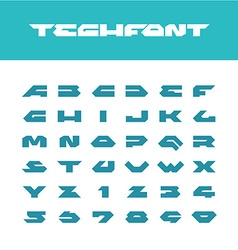 Tech font Wide bold poster cornered letters vector image