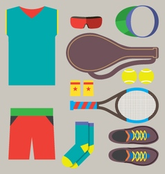Top view tennis men gears vector