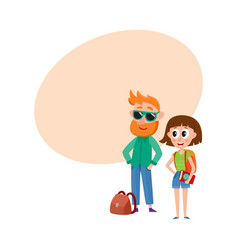 Tourists man in sunglasses and woman with vector