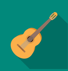 Yellow guitar hippy single icon in flat style vector