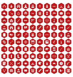 100 bullet icons hexagon red vector