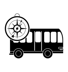 Bus and compass icon vector