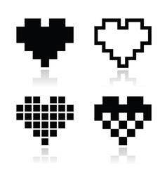 Pixel heart icons set - love dating online vector image