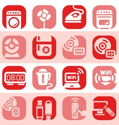 Color electronic home devices icons vector