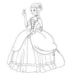 Outlined rococo lady in antique dress coloring vector