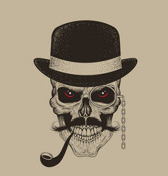 skull-gentleman dressed in hat smoking cigar vector image