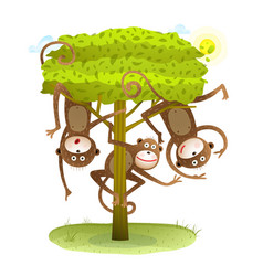 funny monkeys friends on the tree animal cartoon vector image