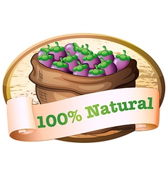 A sack of eggplants with a natural label vector image