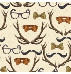 Seamless hipster vintage background with antlers vector