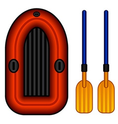 Inflatable boat with paddles vector