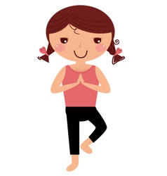 Cute yoga girl isolated on white vector image