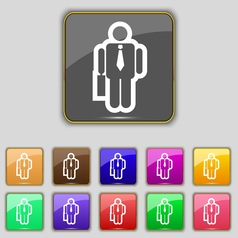 Businessman icon sign set with eleven colored vector