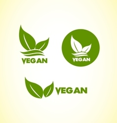 Vegan vegetarian logo icon set vector