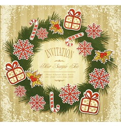 New retro background with christmas garland and to vector