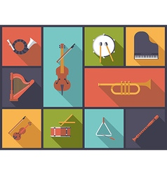 Classical music instruments flat icons vector