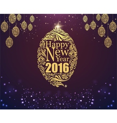 Happy new year and gold ball purple classic backgr vector