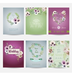 Vintage flowers card set - for wedding birthday vector
