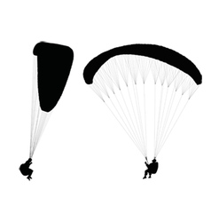 Flying paragliders vector