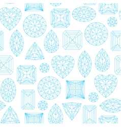 Seamless pattern made of line art diamonds vector