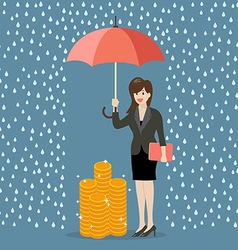Business woman with umbrella protecting her money vector
