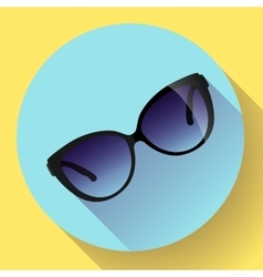 Fashionable trendy woman sunglasses on a colorful vector