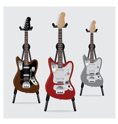 Electric guitar set with stand vector