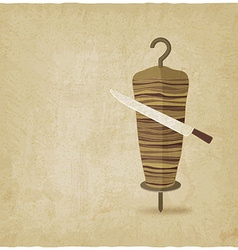 doner kebab with knife old background vector image