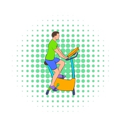 Man training on a stationary bike icon vector