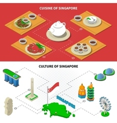 Singapore culture cuisine 2 isometric banners vector
