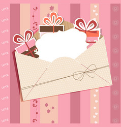 Greeting card with envelope vector image