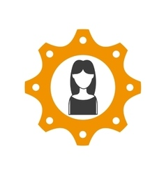Gear and woman icon social media design vector