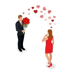 Romantic couple in love meeting love and vector