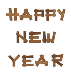 brown wooden sign happy new year isolated on vector image