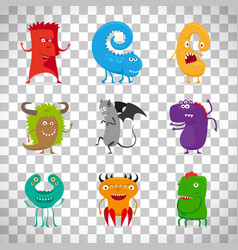 cartoon cute monsters on transparent background vector image vector image