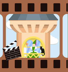 cinema frame with green witch and black cat on the vector image vector image