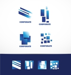Corporate business abstract square logo set vector