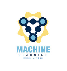 creative flat logo of machine learning computer vector image vector image