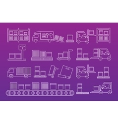 Delivery mono line icon set vector