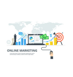 digital marketing process - banner in flat style vector image