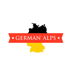 flag of germany with caption - german alps vector image vector image