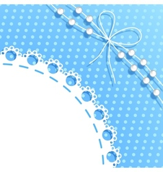 Frame with bow and beads vector image vector image