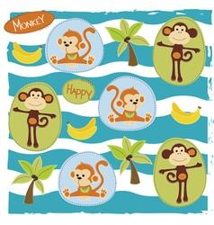 Happy monkey on the safari vector image vector image
