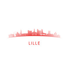 Lille france skyline silhouette red design vector