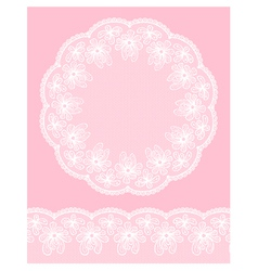 Round lacy frame on pink background vector image