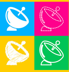 Satellite dish sign four styles of icon on four vector