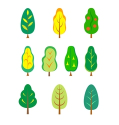 Set of stylized ttrees for various purposes vector