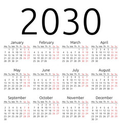 Simple calendar 2030 monday vector